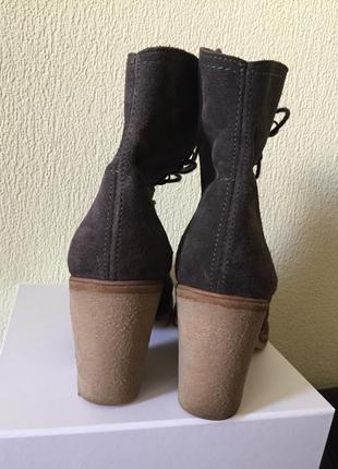 Ботинки замш шнуровка средний каблук3