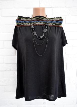 Красивая футболка с горловиной лодочка на резинке matalan uk18 новая