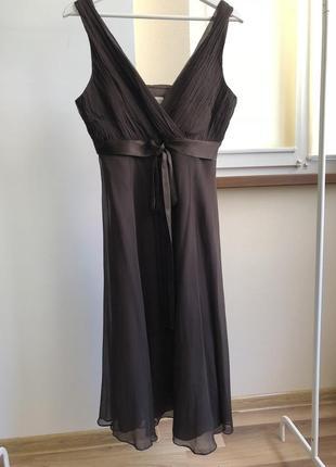 Новое красивое шоколадное платье 100% шелк phase eight 12pp