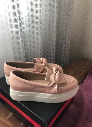 Cлипоны кожаные мокасины кожа туфли на платформе