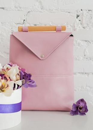 Красивый нежно розовый рюкзак skins pudra с деревянной ручкой