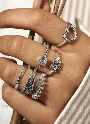 Модные кольца на фаланги пальцев, набор , под серебро