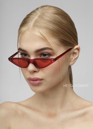 Узкие очки красные в стиле 90-х скай фай sci-fi солнцезащитные ретро кошачий глаз