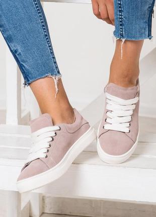 Стильные натуральные кожаные женские кроссовки кеды2