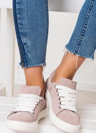 Стильные натуральные кожаные женские кроссовки кеды4