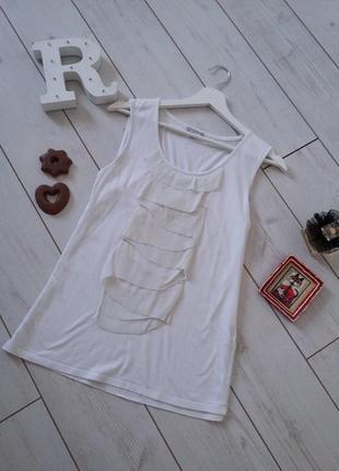 Белоснежный базовый топ маечка трикотаж и натуральный шелк..#00346
