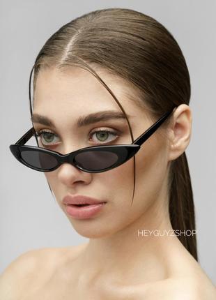 Узкие овальные очки пластиковые солнцезащитные ретро 90-х винтажные кошачий глаз черные