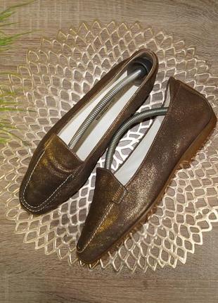(39р./25,5см) k-s! кожа! красивые туфли, мокасины, лоферы с золотым напылением