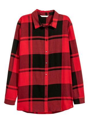 Фланелевая клетчатая рубашка/блузка в клетку