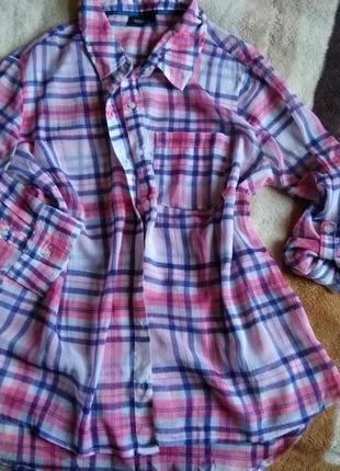 Воздушная, удлиненная сзади рубашка, рукава делаются подкат., тошибо...л, хл