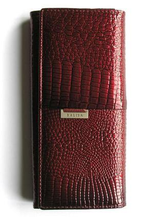 Большой кожаный лаковый кошелек red wine, 100% натуральная кожа, доставка бесплатно