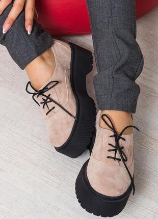 Качественные натуральные замшевые женские туфли мокасины на платформе