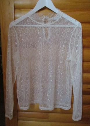 Блуза нежная/гипюр/кружево/l-xl