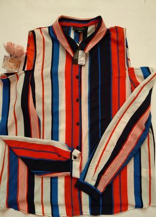 Трендовая рубашка в цветную полоску atmosphere открытые плечи длинные рукава xl