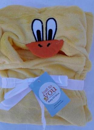 Акція рушник, плед, куточок, конверт для дітей з капюшоном 76 * 102