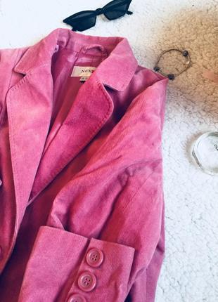 Пиджак розовый, под бархат, велюр