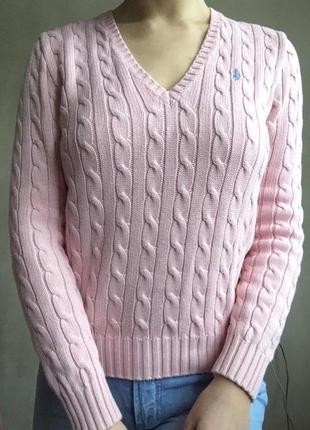 Хлопковый пудровый свитер люксового бренда ralph lauren плетеный косами