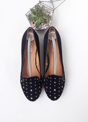 Велюровые балетки туфли с цветными камушками