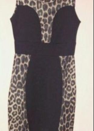 Платье короткое в леопардовый принт