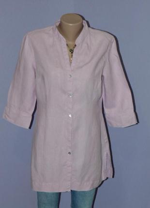 Сиреневая удлиненная рубашка/100% лен