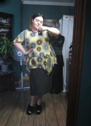 Яркая французская трикотажная блуза с африканским принтом grandes tailles (ог 130-150)