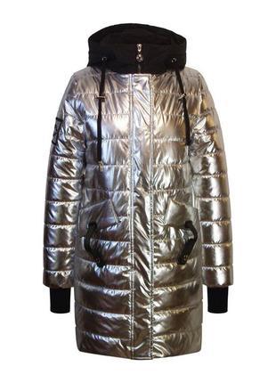 """Пальто демисезонное для девочки """"anernuo"""" серебро и золото в наличие!"""