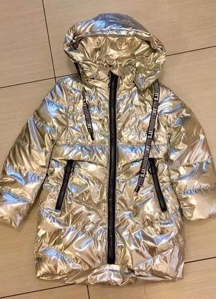 Пальто демисезонное для девочки. серебро и золото