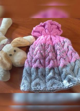 Модная шапочка косы с градиентом, шапка