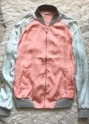 Легкий атласный шифоновый бомбер олипийка кофта куртка stradivarius