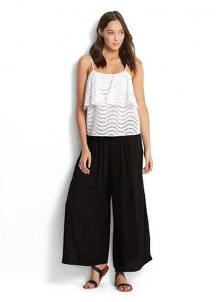 680bcf32fdb4 Черные штаны кюлоты с разрезами штаны пляжные широкие 48-50-52 размер
