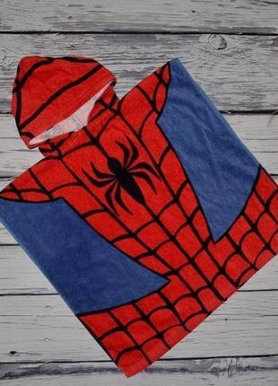 Фирменное детское полотенце пончо махровое с капюшоном спайдермен человек паук