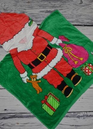 Фирменное детское полотенце пончо махровое с капюшоном дед мороз
