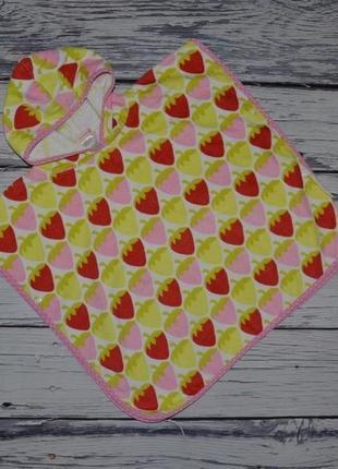 Фирменное детское полотенце пончо девочке махровое клубнички