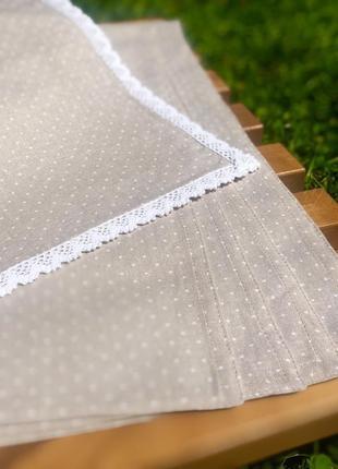 Скатерть и салфетки натуральный лен