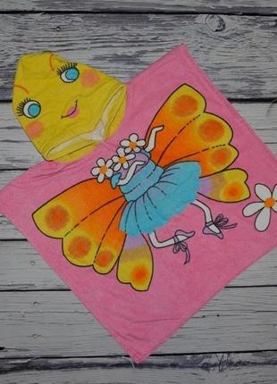 Фирменное детское полотенце пончо девочке махровое бабочка