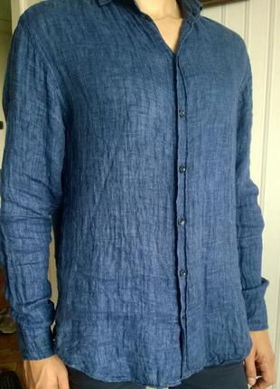 Натуральная льняная рубашка armani casual (original)
