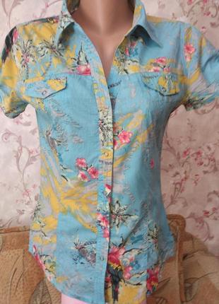 Шикарная натуральная яркая приталенная удлиненная рубашка . madonna.