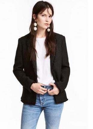 Тёплый удлинённый  блейзер h&m  жаккард пиджак жакет