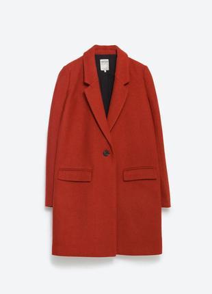 Пальто zara шерстяное бойфренд оверсайз oversize на одну пуговицу мужского кроя шерсть