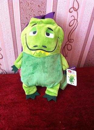 Флисовый детский плед в сумке игрушке крокодил animals