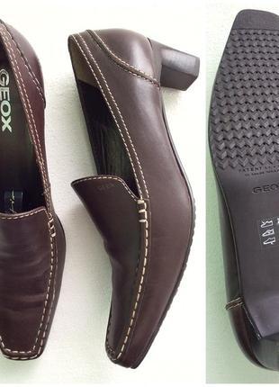 Geox коричневые кожаные туфли на низком каблуке