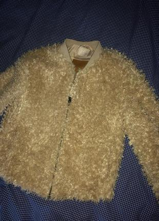 Полушубка куртка пушистая bershka