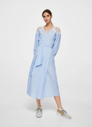Mango платье миди в  полоску  с кружевом, s, m