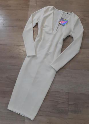 Белое миди платье с длинным рукавом р. 38