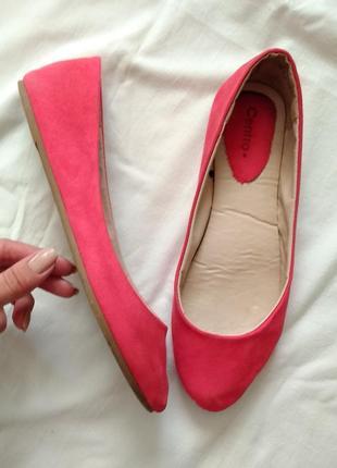 Мягкие балетки кораллового цвета