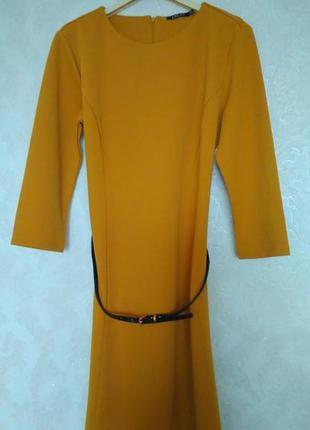 Шафрановое горчичное платье бренда incity, размер 50