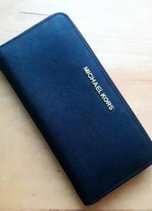 Черный кожаный кошелек 'jet set' от michael michael kors