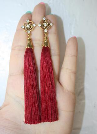 Серьги серёжки кисти кисточки вишнёвые красные нарядные длинные вечерние бохо