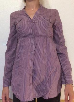 Рубашка в полоску, удлиненная