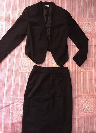 Костюм чёрный строгий юбка карандаш hsm + пиджак/жакет размер xs,s